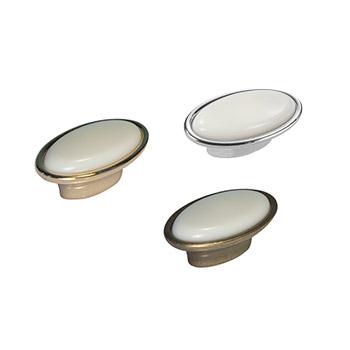 Pomolo ovale: Art.11 Oro Bianco / Art.12 Anticato Bianco / Art.23 Argento Bianco